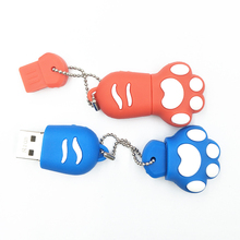 portable kechain Cat paw Pen drive 4GB 8gb 16gb Cartoon pendrive 32GB USB Stick Flash Drive 64GB USB Flash(China)