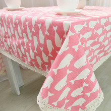 DAXIAOBU Pink Cotton Linen Print Whale Customed Tablecloth Cover Table Deco Lace Trim 1220e