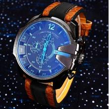 Free Air Mail 3 Eyes Men's Mens Watches Top Brand Luxury PU Leather Analog Case Quartz Watches Sport Watches For Men Nice(China)