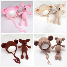 2017Newborn Photography Prop Handmade Bear Crochet Patterns Baby Infant Toddler Studio Photo Prop Newborn Fotografia Accessories