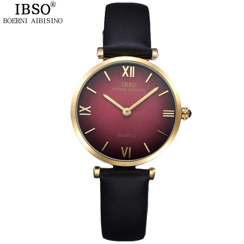 2017 IBSO Brand Fashion Quartz Wristwatches Luxury Ultra Thin Dial Watch Women Genuine Leather Strap Ladies Watches Montre Femme<br><br>Aliexpress