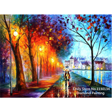 mosaic 3D night scenery pictures diamond embroidery city couple umbrella diy full square diamond painting cross stitch kits DP04(China)