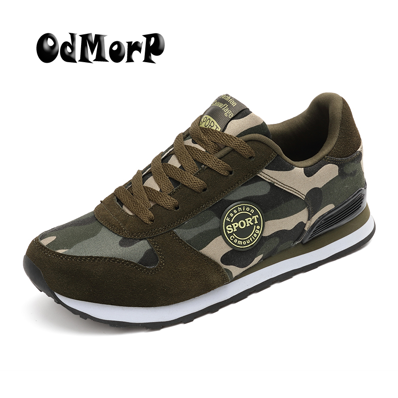 ODMORP Men Shoes Autumn Camouflage Casual Canvas Shoes Men Lace-up Breathable New Fashion Sneakers Casual Shoes