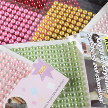 4mm 480pcs/set Colour Bright Pearl Crystal 3D Car Stickers Diamond Decoration Rhinestones Self Adhesive Scrapbook Stickers