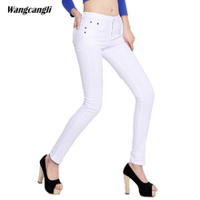 white jeans women candy color skinny pencil pants Stretch Jeans decoration button zippers Fashion summer plus size xl wangcangli