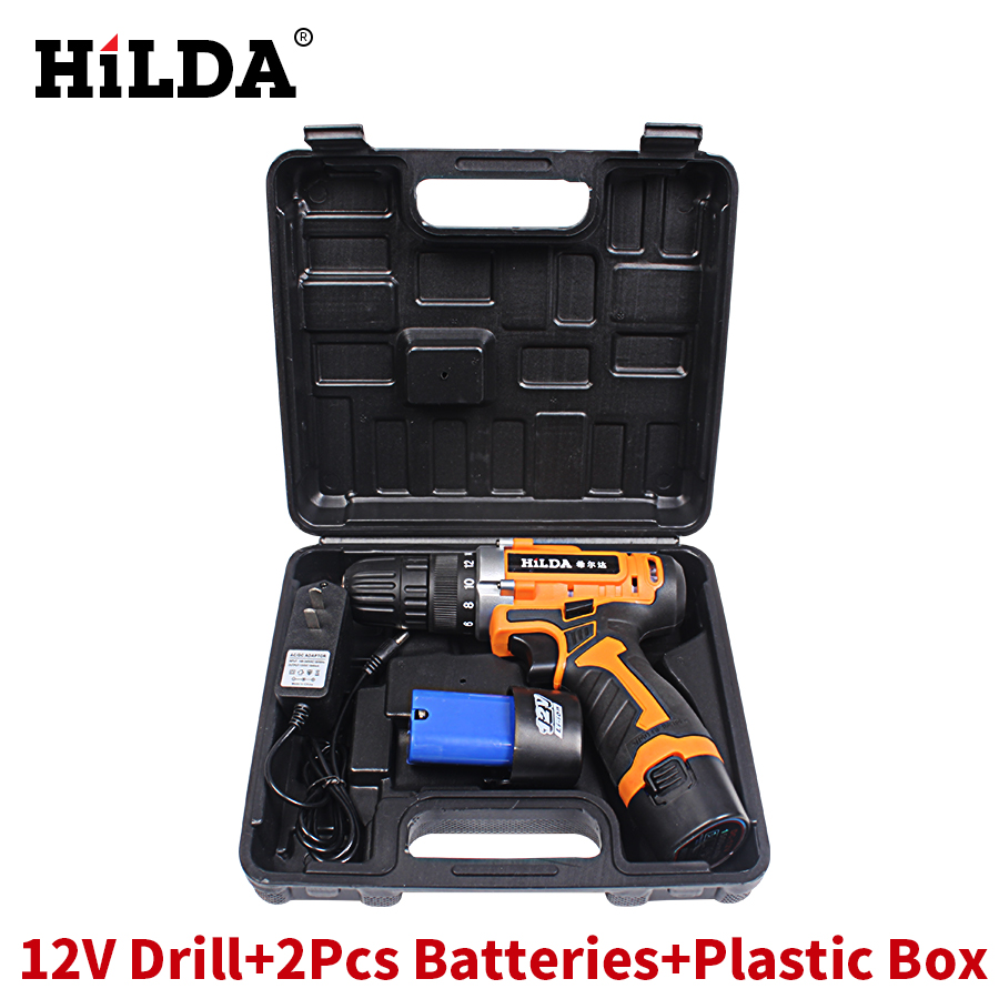 HILDA 12V Electric Screwdriver Parafusadeira Furadeira Cordless Screwdriver Two-speed Power Tools Rechargeable Lithium Battery*2<br>