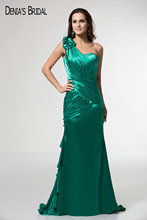 One Shoulder Green Mermaid Evening Dresses Ruffles Ruched Sweep Train Evening Gowns Csutom Made(China)
