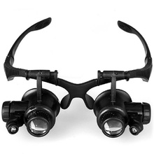 10X 15X 20X 25X Watch Repair Magnifier Head with 2 LED Lights Double Eye Magnifying Glasses Electronic Measurement Tool