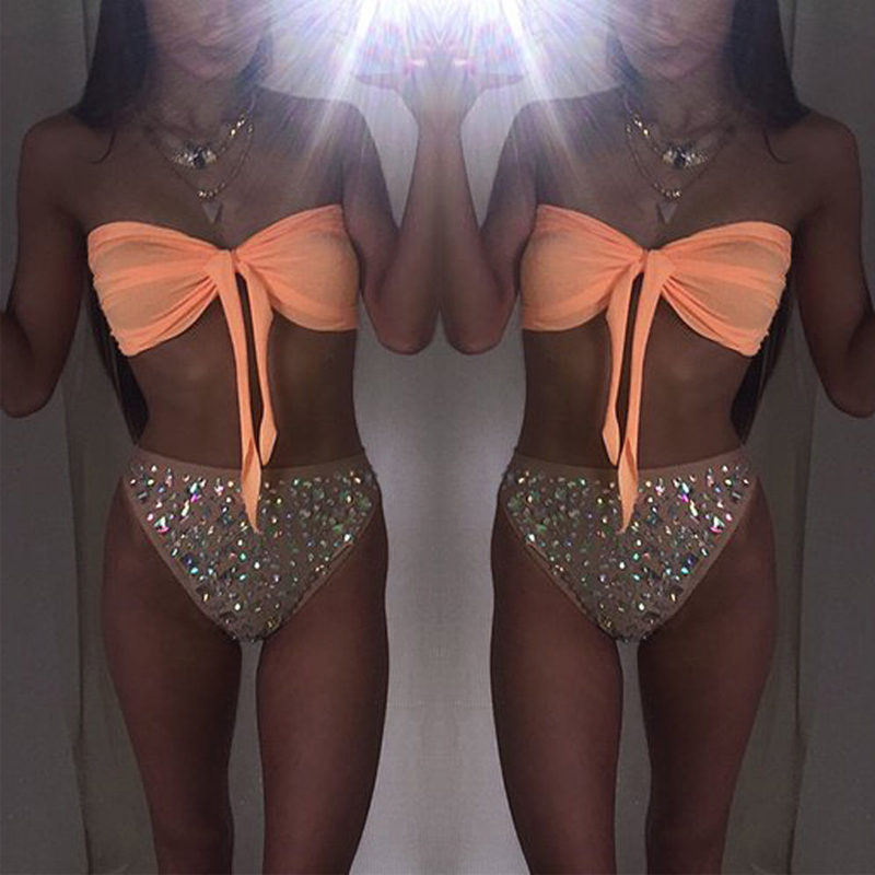 Sexy Women Swimwear Bandeau Bikini Set Bow Swimsuit Brazilian Bikini Off Shoulder Bathing Suits Biquini Maillot De Bain Femme <br><br>Aliexpress