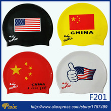 Unisex Adults Waterproof Silicone Protect Ears Long Hair Sports Swim Pool Swimming Cap Can be customized with logo printing(China)