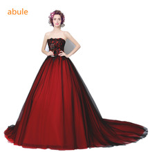 Buy abule wedding dress 2017 Red wine black lace train strapless sleeveless Sexy Backless Lace Vintage Bridal Gown Robe De Mariage for $93.45 in AliExpress store