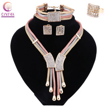 2017 Women Italy Dubai Three Tone Necklace Earrings Golden Jewelry Sets Wedding Party Bridal Accessories Costume jewelry