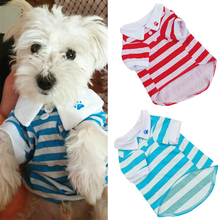 1 PC Pet Clothes For Small Dogs Cats XS-L Cute Dog Puppy T Shirt Clothes Lapel Stripe Cotton Pet Clothes Hot Cheap D19(China)