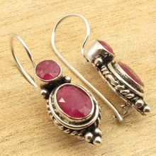 Silver Plated Red rubi 2 Gemset Exceptional Earrings 1 1/8 inches