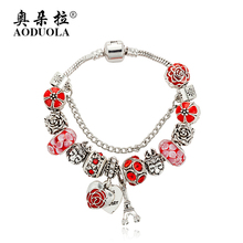 AODUOLA Fashion Jewelry Red Enamel Flower Charm Bracelets For Women Silver Color Crystal Beads Bracelet Pulsera Gift B16018(China)