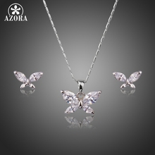 AZORA Butterfly White Gold Color Clear Marquise Cut CZ Necklace and Earrings Jewelry Sets for Women TG0218