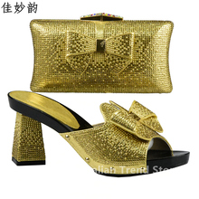 Gold Color Italian Ladies Shoe and Bag Set Decorated with Rhinestone African Shoe and Bag Set for Party In Women Nigerian Shoes