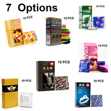 Buy 10 Pcs/Lot 7 Options High Quality Natural Latex Condoms Penis Sleeve Condoms Safer Contraception Men Lubrication Condoms