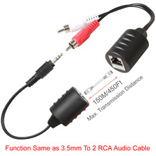 Relper-Lineso 3.5mm to 2 RCA Extension 150M Stereo DC3.5mm To RJ45 And RCA Red White To RJ45 Audio Balun Extender Over Cat5/5E/6