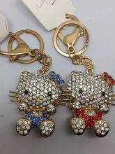 Free Shipping wholesale key chains, mix order  alloy rhinestone hello kitty key bag chains in golden tone-7010 2pc/lot