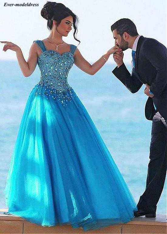 Blue Long Prom Dresses 2019 Plus Size Crystal Beaded Sweetheart Lace Up Back Floor Length Formal Party Gowns Vestidos De Festa
