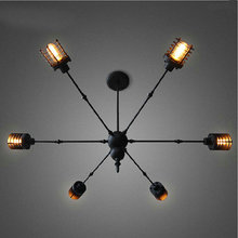 Iron 6 heads spider Pendant Lamp Modern Loft Vintage industrial Edison Bulbs Bar Restaurant Bedrooms Large Shopping E27(China)
