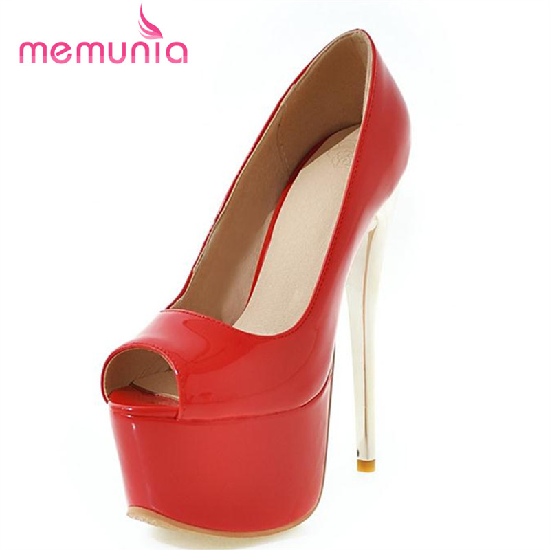 MEMUNIA Peep toe high heels shoes 16cm platform solid wedding shoes elegant fashion women pumps big size 34-48 shallow<br>