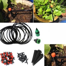 5m 15Ft Micro Drip Irrigation Kit Set Plants Watering System Automatic Plant Garden Hose Kits Connector 10pcs Adjustable Drip