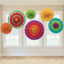 6Pcs/set Stripe Dot Paper Fans Round Wheel Disc Birthday Kids Party Wall Decoration Event Kindergarten Celebration Decor(China)