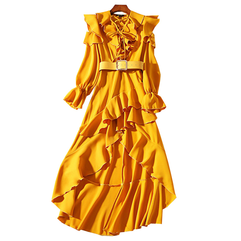 catwalk fashion women mustard yellow flouncing ruffled dress string lace up v neck flared 34 sleeves high low long casual dress