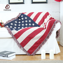 Parkshin High Quality Blanket 100% Cotton United States Flag Knitted Plaid Bedspread For Sofa/Bed/Home 130cmX170cm Blanket