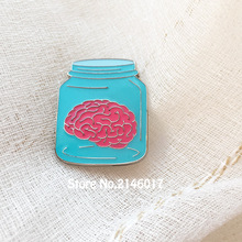 10pcs Wholesale Funny Metal Badge Popular Cute Gifts Brain in Bottle Jar Meme Lapel Pin Soft Enamel Epoxy Pins and Brooch(China)