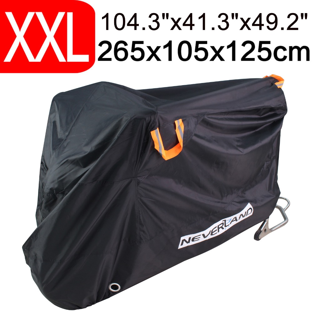 190T XXXXL Motorcycle Waterproof Rain Dust Waterproof Bike Cover Black Outdoor