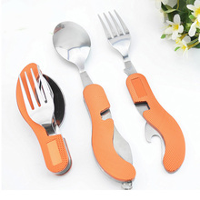 Cubiertos Camping Tool Stainless Steel Multifunction Tableware Knife Fork Spoon camping spoon cookware Spoon fork(China)