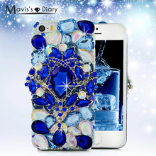 5 5S SE 3D Luxury Bling Crystal Diamond Rhinestones Case Back Hard Cover For iPhone 5 5S SE 5G Handmade Plastic Protective Skin(China)