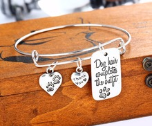 """dog hair completes the outfit "" Dog Tag Pendant Special Words Fashion Charms Bangle Bracelet Bangle Wedding Party Jewelry"