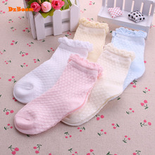 5 Pairs/Lot Mesh Thin Girls Socks For Children Kids New Summer Baby Cotton Soild Candy Colors Lace Ruffle Short Girl Sock Set(China)