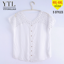 Yitonglian Plus Size Women Clothing Summer Cap Sleeve Blouse Hollow Button Crochet Pullover Loose Tops Blouses Tee 4xl 5xl 6xl(China)