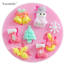 Free shipping 3D silicone Snowman Christmas Tree cooking tools molds candy Sugar Craft Soap Gift Decorating molds 04053