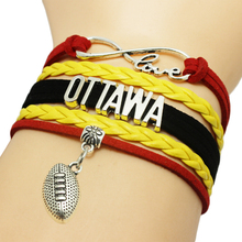 Infinity Love OTTAWA Baseball Team Bracelets Leather Suede Rope Charm Customize Friendship Wristband Women Bangle