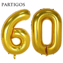 60 year old birthday balloons 40'' helium black gold number digit ballon party marriage helium inflate globos foil metallic ball(China)