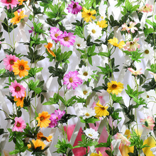 2Pcs/lot Daisy artificial fake flower Bellis perennis silk Ivy vine hanging decorations garden home chair arch stair pipes decor