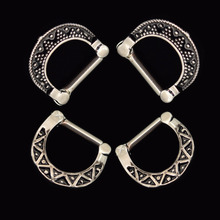 4pcs 316L Stainless Steel Black Septum Clicker Hinged Beaded+Triangle Nose Ring Jewelry Nose Piercing nose Septum clicker(China)