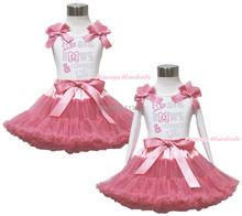 Rhinestone I Like Bows White Pettitop Top Shirt Dusty Pink Bow Pettiskirt Dress Set 1-8Y MAPSA0536