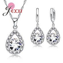 JEXXI Bridal Best Gifts 925 Steling Silver Wedding Anniversary Jewelry Sets CZ Crystal Water Drop Necklace Earrings Set