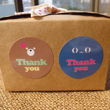 "100PCS Cute Bear ""Thank You"" Gift Decor Stickers,Bakery Cookie Packaging Bag Lamination Paper Seal Labels"