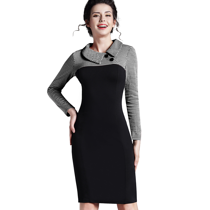 Nice-forever Elegant Vintage Fitted winter dress full Sleeve Patchwork Turn-down Collar Button Business Sheath Pencil Dress b238 19