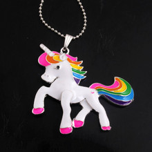 OYKZA AAA Quality 1pcs Chunky Alloy Enamel Unicorn Pendants Charms Ball Chain Necklace for Women Girls Kids Gift Jewelry(China)