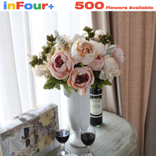 13 Head Peony Bouquet For Wedding Fake Flowers Artificial Flowers Cheap Plastic Silk Flowers Artificial Flowers For Decoration(China)