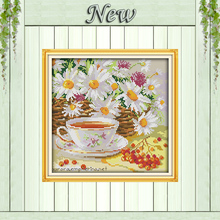 Afternoon tea coffee flowers Daisy painting counted printed on canvas DMC 11CT 14CT kits Cross Stitch embroidery needlework Sets